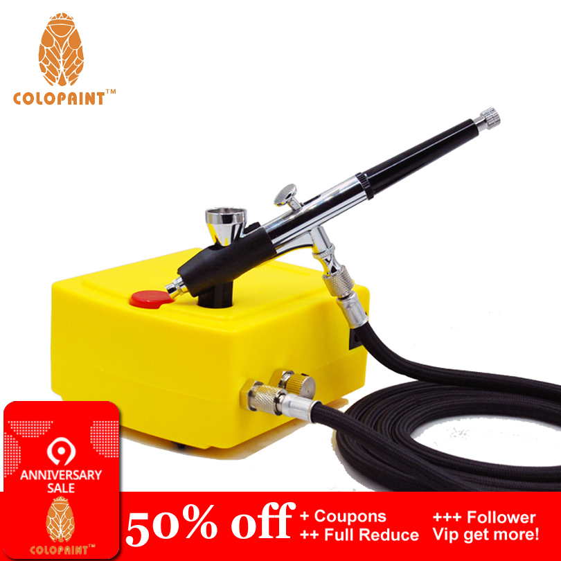 GWELL Airbrush Kit Air Compressor Set w//Cleaning Kit 3 Guns 0.2mm 0.3mm for Paint Cake Tattoo Model Hobby Painting