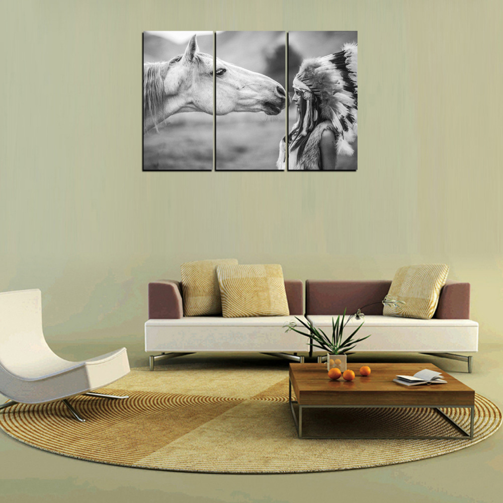 Wall Paintings For Living Room Aliexpresscom Buy 3 Panels Horse And Indian Girl Canvas Print