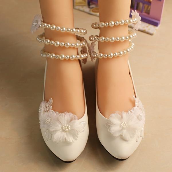 flor talón plano zapatos de boda mujeres moda niña flores tobillo