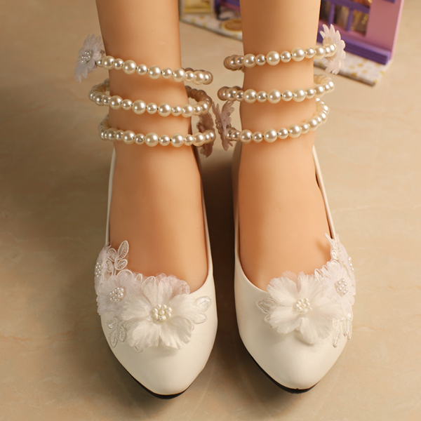 Flat Bridal Shoes With Pearls