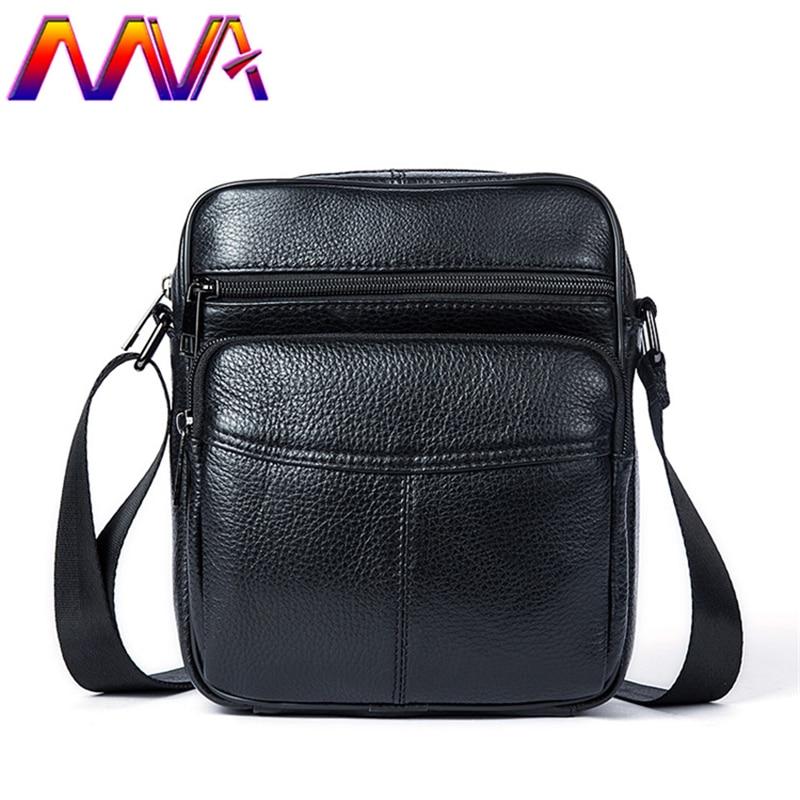 MVA Hot sale black men messenger bag for preppy style boy shoulder bag men leather crossbody bag for school shoulder bags