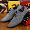 2016 Classical Men Dress Flat Shoes Luxury Men's Business Oxfords Casual Shoe Black / Gray Blue Red Wine Leather Derby Shoes