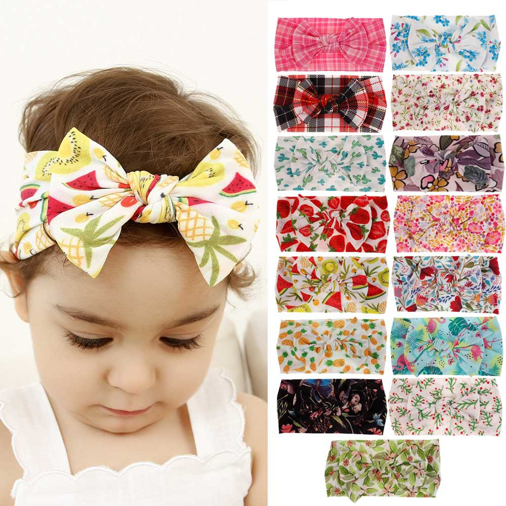 24pc lot Newborn Kids Floral Print Nylon Headbands Spring Summer Color Knotted Hair Bows Nylon Headband
