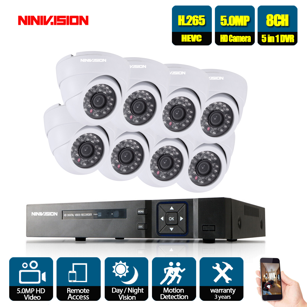 NINIVISION H.265 8CH 5MP 1080P AHD NVR Audio CCTV Security System 5MP Dome HD Camera IR-CUT P2P Indoor  Video Surveillance Kit