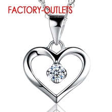 925 Sterling Silver Cubic Zirconia Heart Pendant Necklace Fashion Jewelry Female Party Engagement All Compatible Wholesale