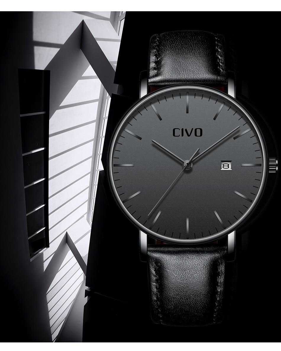 CIVO Men Watch Ultra Thin Minimalist Waterproof Date Wrist Watch For Men Black Genuine Leather Business Fashion Watch Men Clock 6