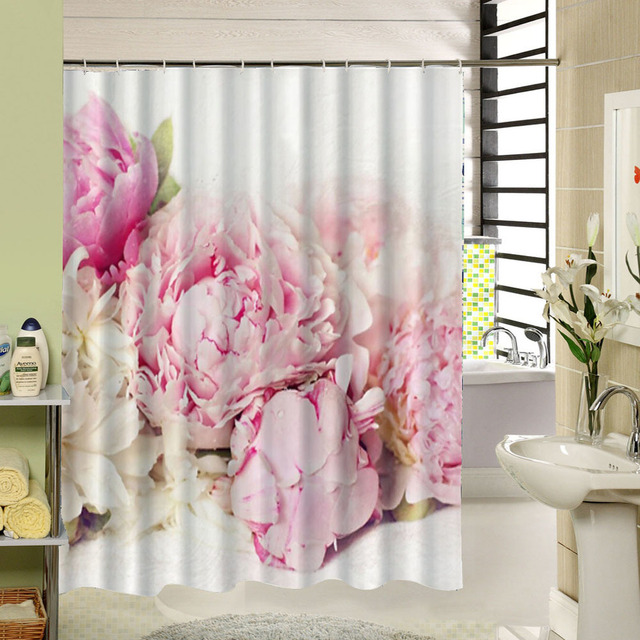 Pink Floral Shower Curtain Fabric Waterproof 3d Print Curtain for ...