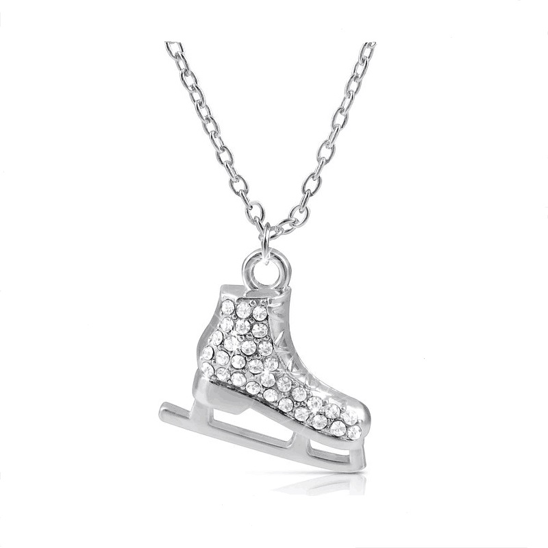 My shape light silver plated 3d ice skates figure skater crystal my shape light silver plated 3d ice skates figure skater crystal reversible pendant charm necklace winter jewelry in pendant necklaces from jewelry aloadofball Gallery