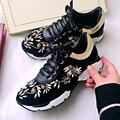 2017 Estilo Europeo Rhinestone Zapatos Causales de Cuero Genuino Lace Up Plataforma Zapatos de Las Mujeres de Cadena Del Grano de Las Mujeres Zapatos de Deporte