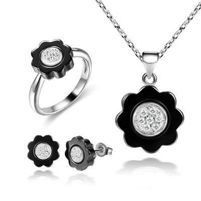 Funmor ensemble de bijoux en céramique de forme de fleur de luxe 925 en argent Sterling ensembles dame mariée fête mariage Interview accessoires présente