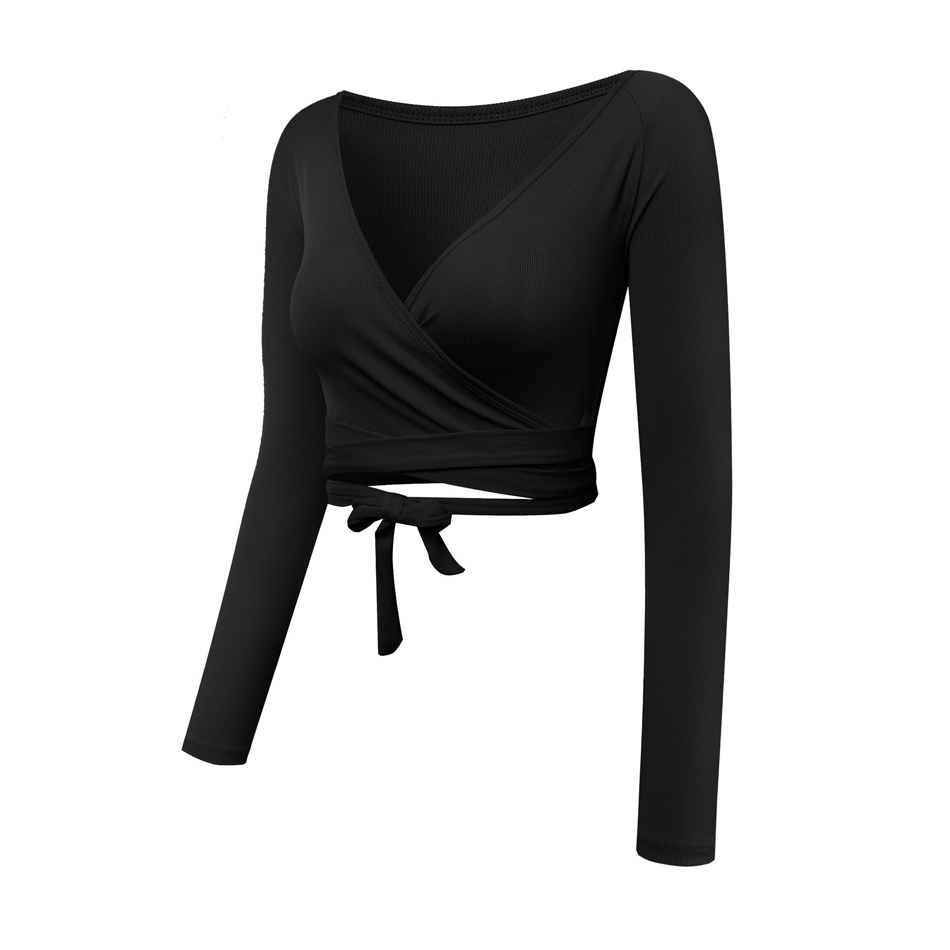 Women Long Sleeve Wrap Yoga Crop Top for Dance Lavender Workout Shirts Fitness T-shirt Breathable Running Tops 2018 New 1
