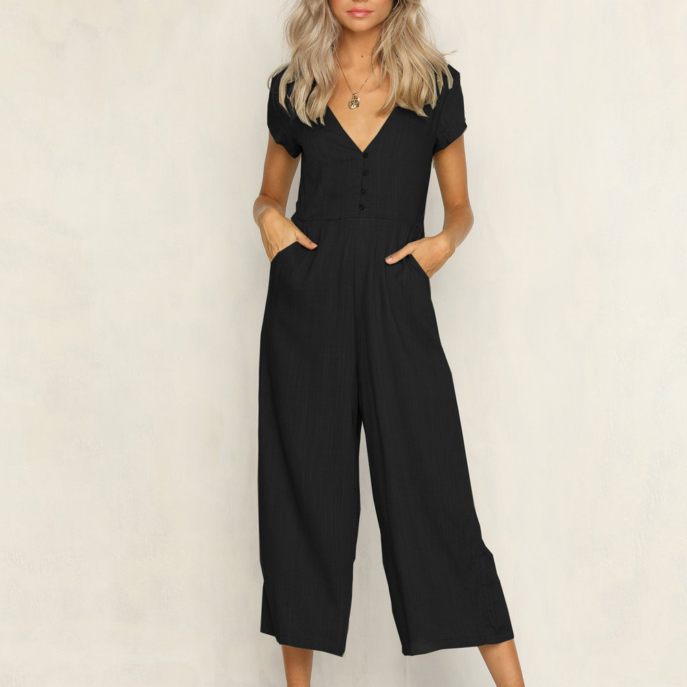 Jumpsuit Summer Women Long V-Neck Short Sleeve Wide Leg Strappy Holiday Long Playsuits Trouser Jumpsuit 2018 Jumpsuit F#J06 (13)