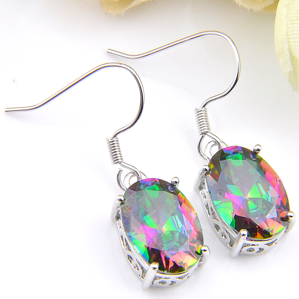 luckyshine  Hot Sale Silver Plated jewelry Charm Rainbow mystic Synthetic Oval Mix 2 Color Crysta Earrings for women free shippi