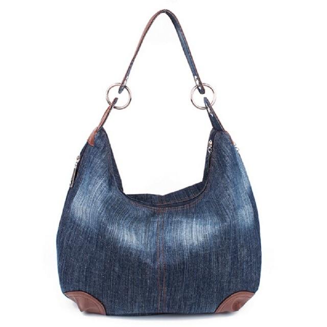 89cd1ded0 Grande Denim Sacos de Mão Das Senhoras Das Mulheres Saco Grande Hobo Bolsas  e Bolsas Jean