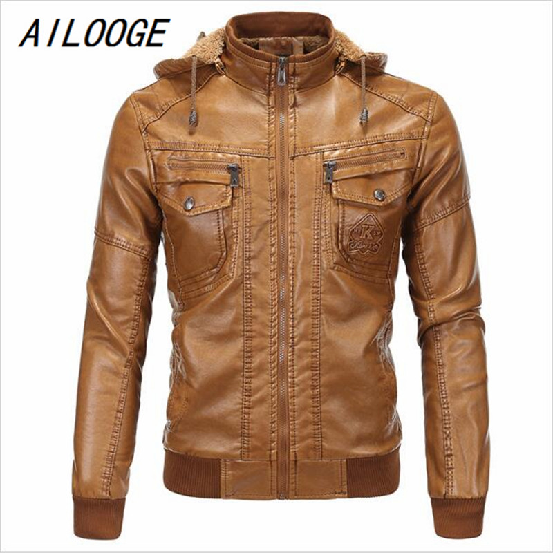 AILOOGE Men's Faux Leather Jackets American Style Plus Size Brand Designer Leather Suede 5XL Winter Michael Jackson Jackets