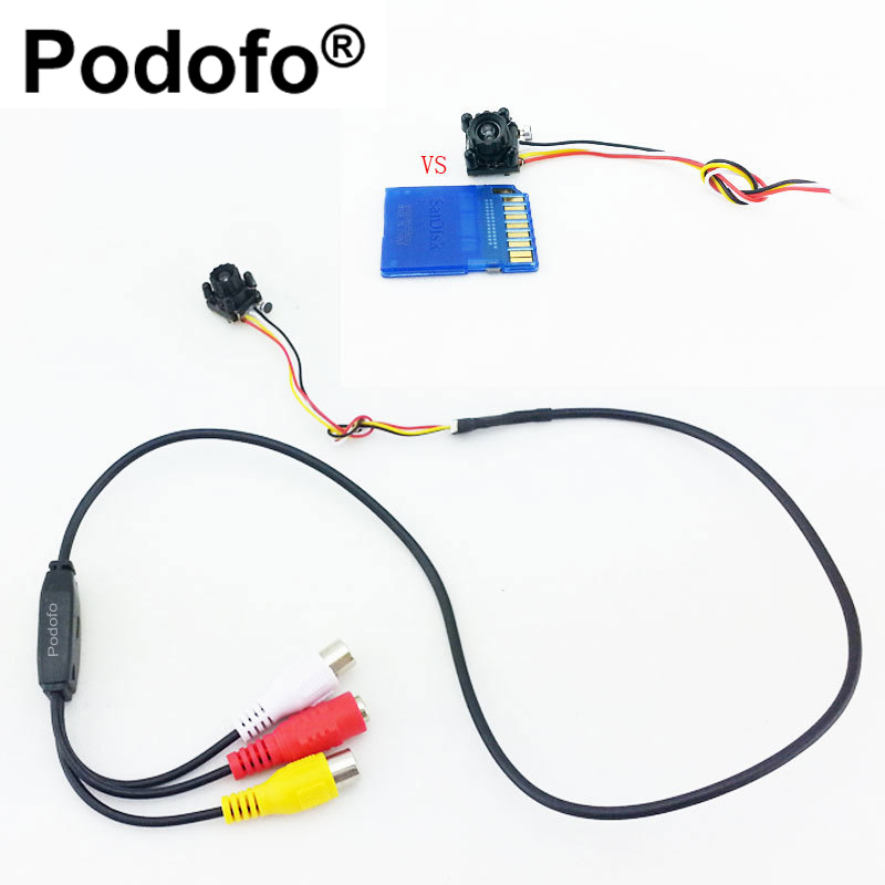 Podofo New Smallest CCTV cam 4 LED Night IR DIY Mini Camera HD 600TVL CMOS Camera with Mic Mini Security Pin Hole Camera
