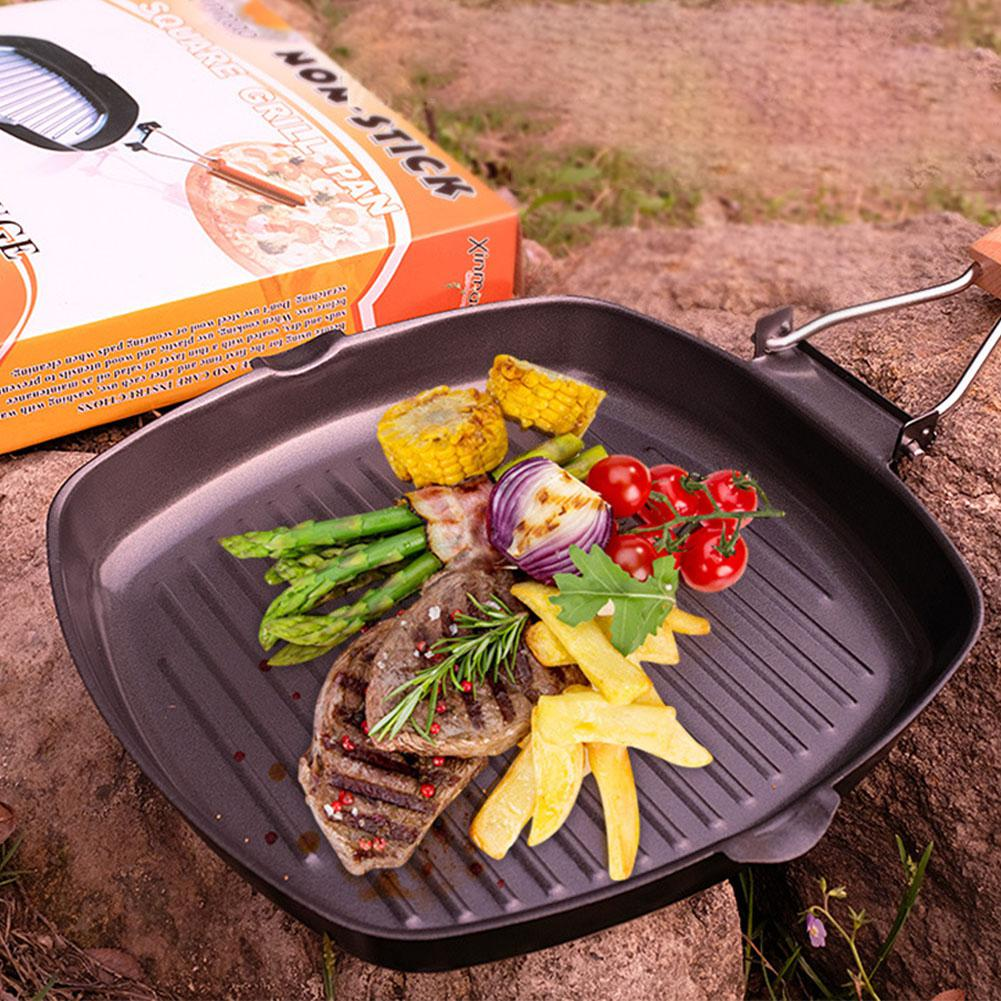 Non-sticky Cast Iron Steak Frying Pan Breakfast Skillet Wooden Handle Folding Portable Square Grill Pan Outdoor Camping Fry Pan