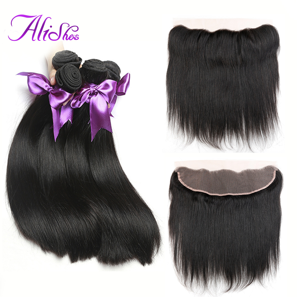 Alishes Straight Hair Peruvian Hair Bundles With Frontal 13*4 Ear To Ear Frontal Closure With Human Hair Bundles 4PCS Remy Hair ...