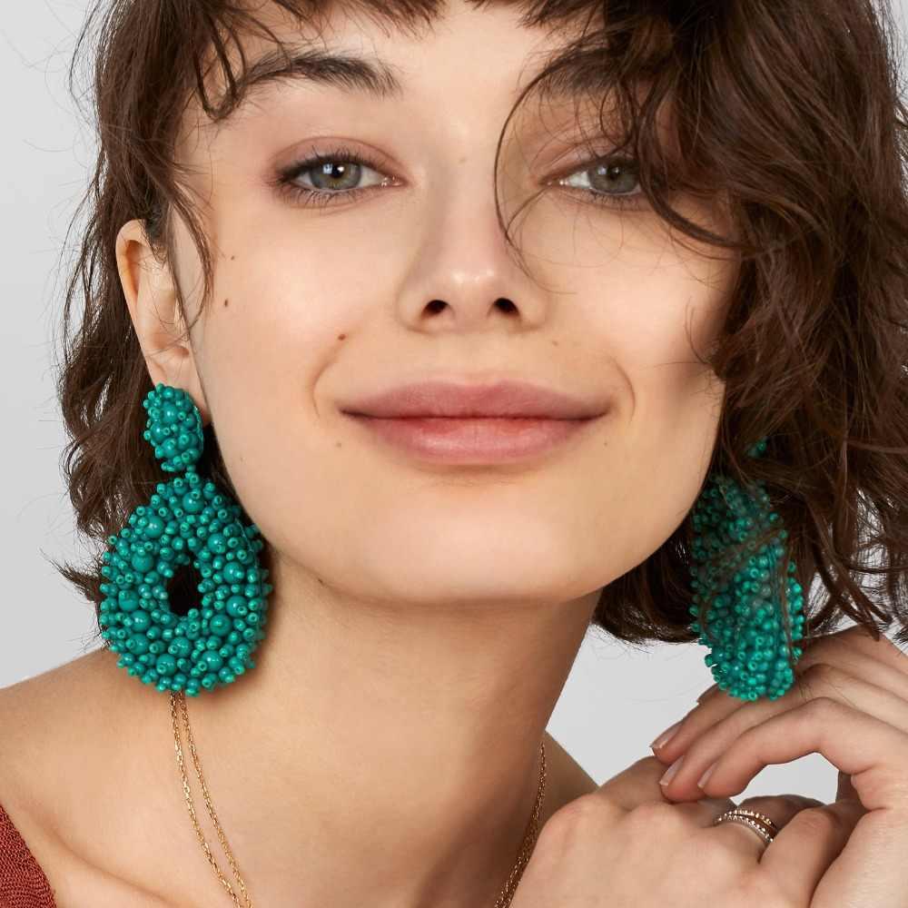 JUJIA 2019 ใหม่โบฮีเมียน Fringe ต่างหูผู้หญิง Handmade ลูกปัดต่างหู Dangle DROP ของขวัญต่างหู