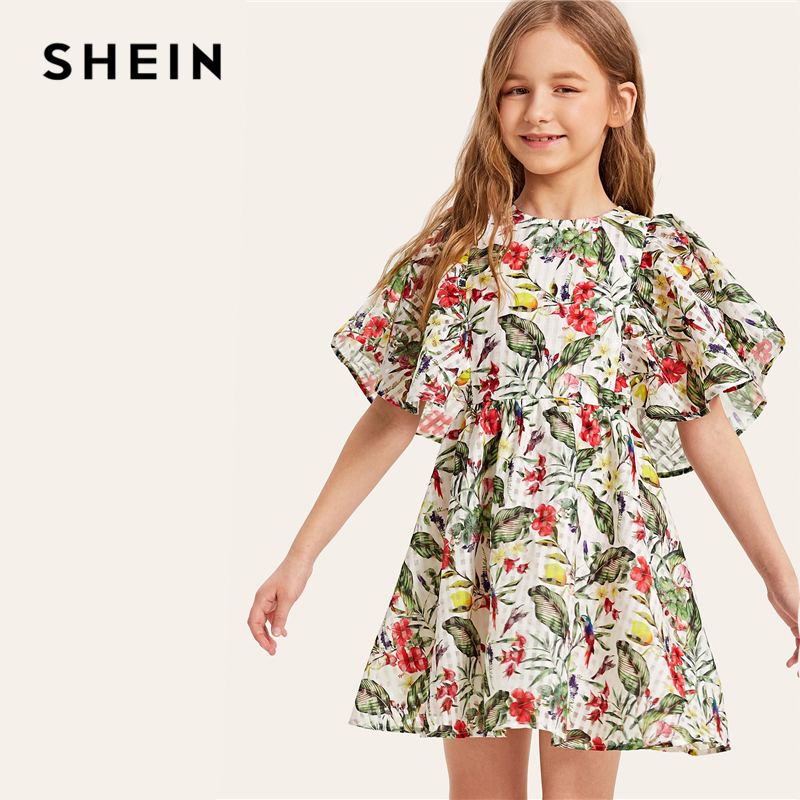 SHEIN Kiddie Flutter Sleeve Tropical Zipper Smock Boho Girl Mini Dress 2019 Summer A Line Holiday Kids Dresses For Girls Clothes 2016 summer new wedding dress rose embroidery kids dresses for girls clothes robe fille enfant free shipping