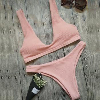 Hirigin Sexy Thong Bikini Set 2019 Women Swimwear High-quality Fabrics Push Up Swimsuit Women Bathing Suit Padded Bikini Solid 8