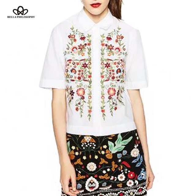 Bella Philosophy 2016 new women's flower floral embroidery short front long back short sleeve shirt blouse white