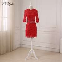 ADLN Short Red Evening Dresses Full Lace Stones Beaded Knee Length Vestidos De Fiesta Night Party
