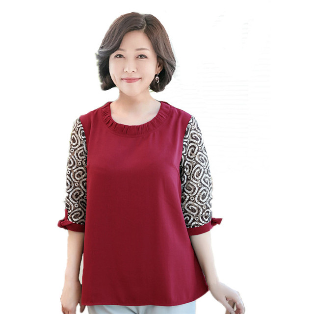 2018 Spring New Middle-aged Women Plus Size Clothing Loose Mother Solid Red  Chiffon + Lace Shirt Seven Sleeves Mom Tops 5xl 6xl 19fb79c198bc