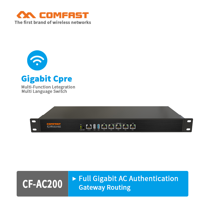 COMFAST CF-AC200 AC gateway controller MT7621 880Mhz Core full Gigabit ac Authentication Gateway routing with 5*1000Mbps port comfast cf ac200 full gigabit ac authentication gateway routing mt7621 880mhz core gateway wifi project manager 5 1000mbps ports
