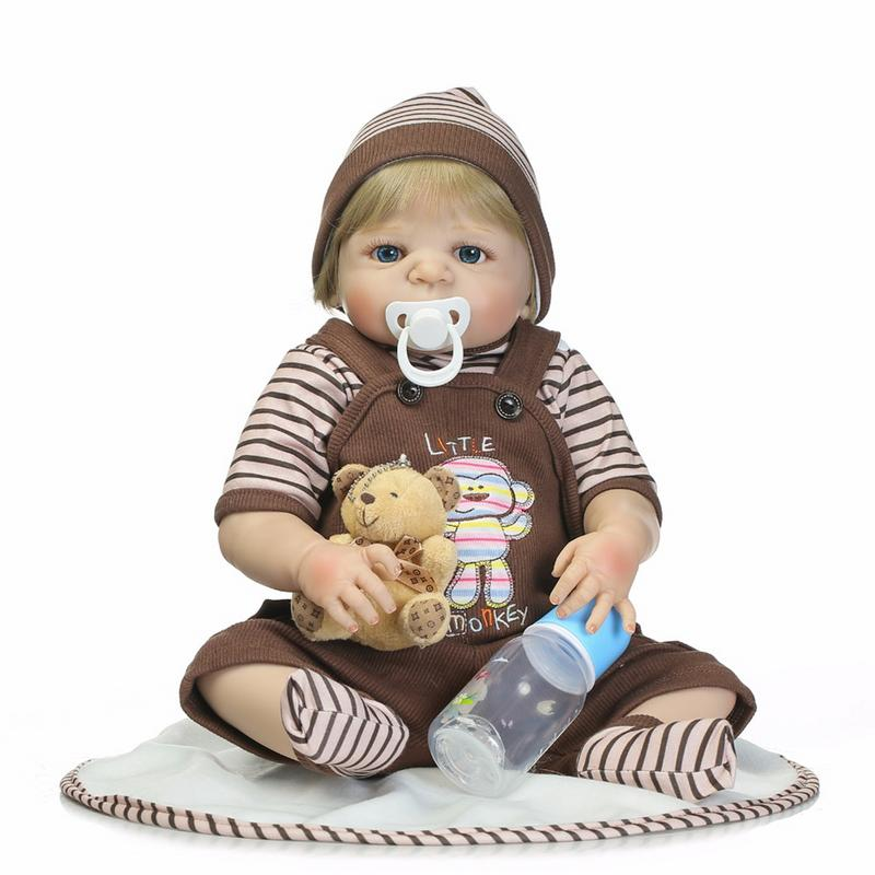 Blue Eyes Reborn Dolls Baby Simulation Doll Children Lifelike Toys Washable Full Silicone Toy Child Early Education Best Gifts