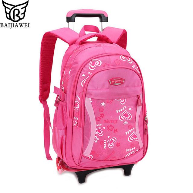 Baijiawei 2017 diseño de la historieta de los niños mochilas escolares mochila desmontable para niñas lindos niños trolley bolsas de estilo de la princesa