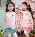 2016 nueva muchacha del verano vestidos niñas bebés gasa kids niños de flor del partido del falbala vestido sin mangas del chaleco