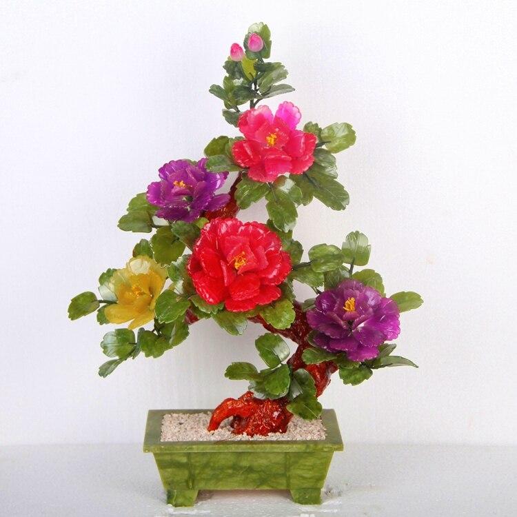 Ornamenti di giada naturale 5 fiore di peonia ornamento di moda ornamenti scrivania multicolor Arredamento Per La Casa regali aziendali società