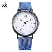 Shengke Jam Tangan Kasual Wanita Denim Kanvas Sabuk Biru Jam Tangan Wanita Big Dial Kuarsa Jepang Fashion Clock Reloj Mujer Baru