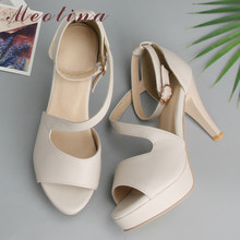 c8acb6870 Meotina Shoes Women Summer Shoes Gladiator Sandals High Heels Sandals Open  Toe Platform Ladies Shoes Beige