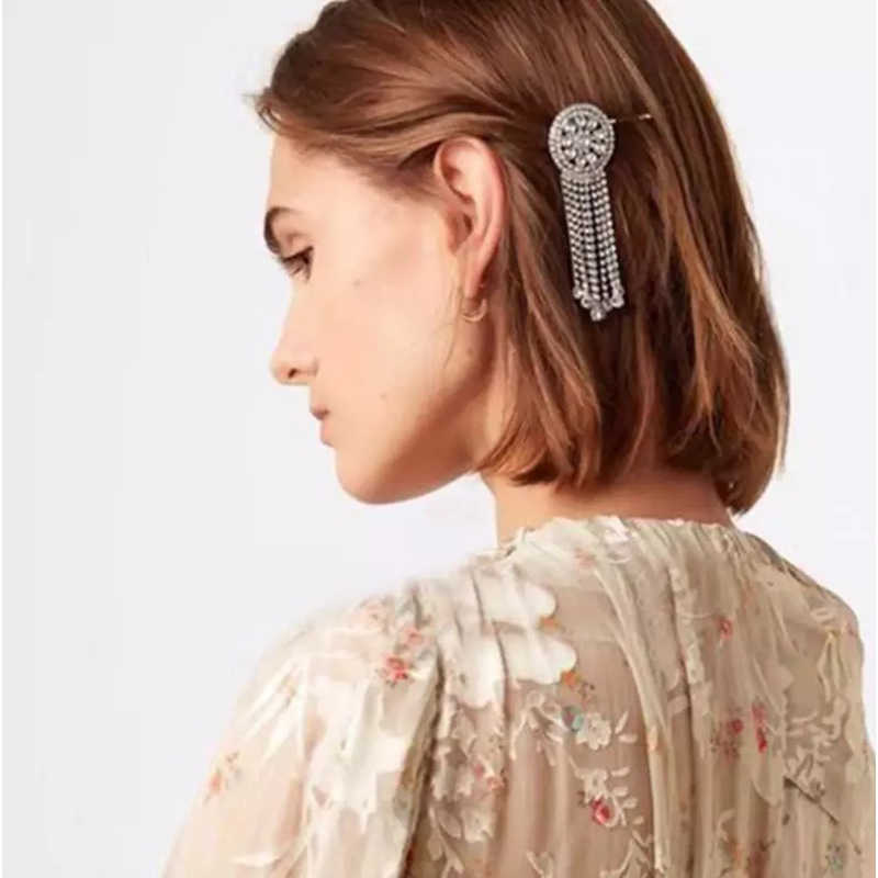 Trendy Round Crystal Tassel Hair Clip For Women Girls Shiny Long Chain Beads Hair Harpin Female Wedding Jewelry