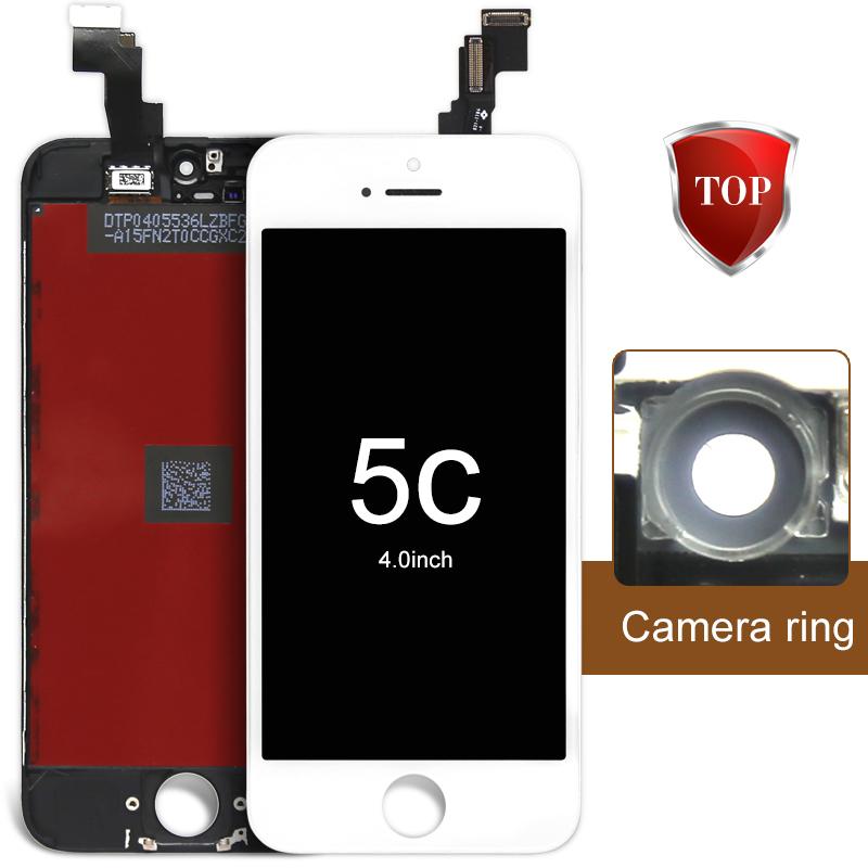 Prix pour 10 pcs/lot pour iphone 5c lcd assemblée d'affichage écran de remplacement avec caméra titulaire