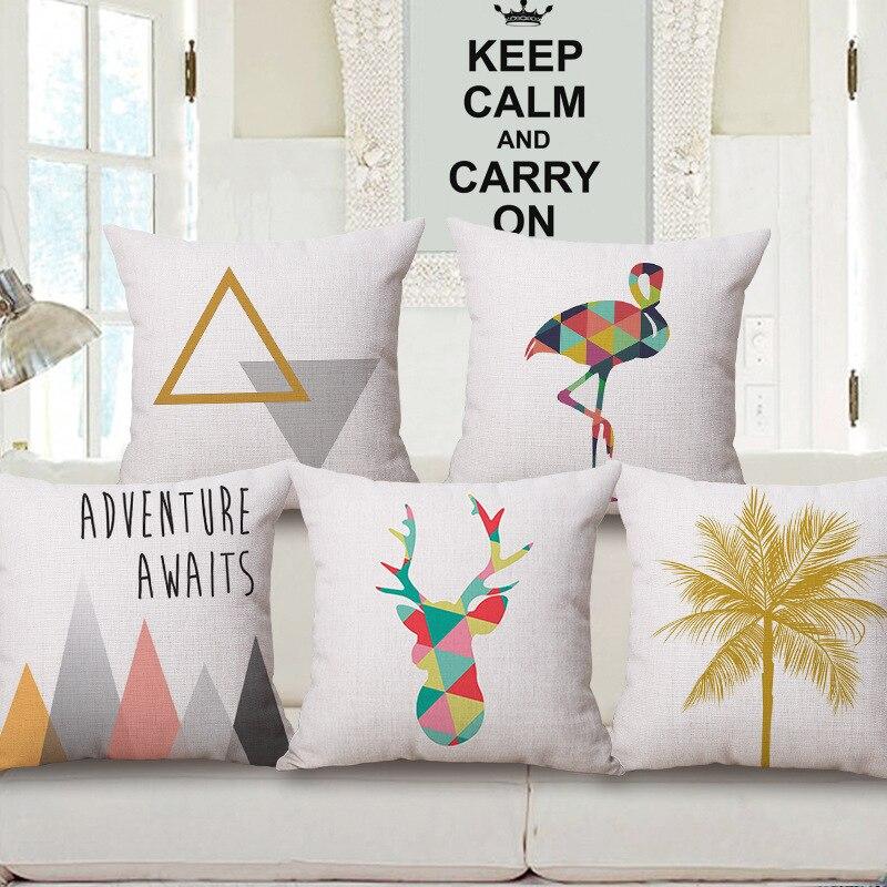 Simple Geometric Animal One Side Printing Home Decor Sofa Car Seat Decorative Cushion Cover Pillow Case Capa Almofada