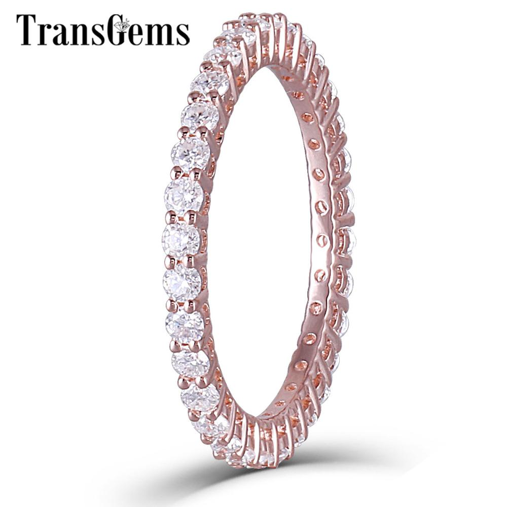 TransGems 14K 585 Rose Gold 1.8mm F Color Moissanite Full Eternity Wedding Band for Women Anniversary Gifts Fine Jewelry