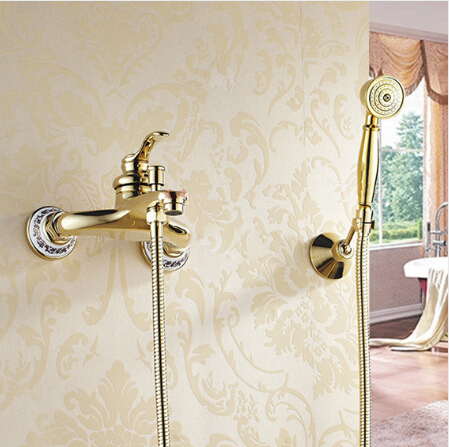 Wall mounted golden Brass Bathroom Bathtub Faucet Set Hand held Shower Head Bath & Shower Faucet Mixer Tap gappo classic chrome bathroom shower faucet bath faucet mixer tap with hand shower head set wall mounted g3260