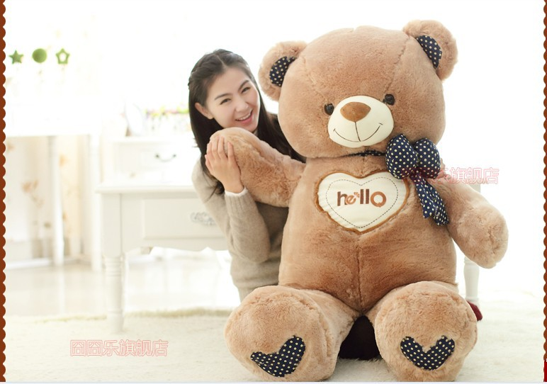 The lovely bow Teddy bear doll heart hello bear plush toy doll birthday gift brown about 110cm new cute plush brown teddy bear toy pink heart and bow bear doll gift about 70cm