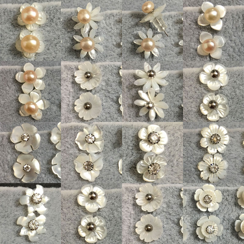 10 pairs Wholesale Women Fashion Jewelry White Mother of Pearl Shell Beads Stud Earrings WFH464 pair of embossed faux pearl rhinestone stud earrings