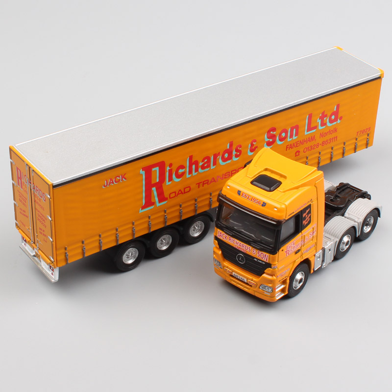 все цены на 1:76 Scale brand corgi Actros container Heavy duty cargo Truck trailer Richards & Son Ltd haulage metal diecast model Car Toys онлайн