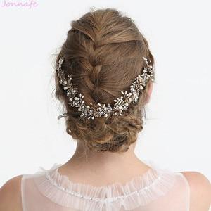 Image 5 - Jonnafe Cổ Vàng Hoa Cô Dâu Mũ Trụ Lá Đầu Cưới Tiara Tóc Cây Nho Phụ Kiện Handmade Nữ Tóc Trang Sức