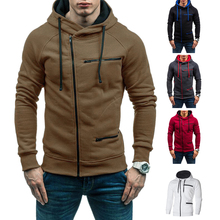 Men Fashion Hip Hop Pocket Asymmetric Zip Up Hooded New Hot Sweatshirt Jacket Casual Long Sleeve Knitted Sport Sweatshirt Coat