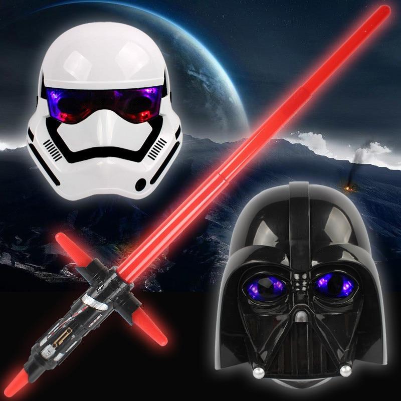 New 1PCS Star Wars light sword mask LED lamp telescopic Cosplay weapon sword action chart luminescence