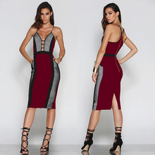newest women summer dress sexy spaghetti strap patchwork hollow out bodysuit slim dress sexy deep V neck mid calf party dresses