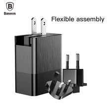 Baseus 3-Port USB Travel Charger for iPhone X Samsung XiaoMi 3 in 1 Replaceable EU US UK Plug Wall Adapter