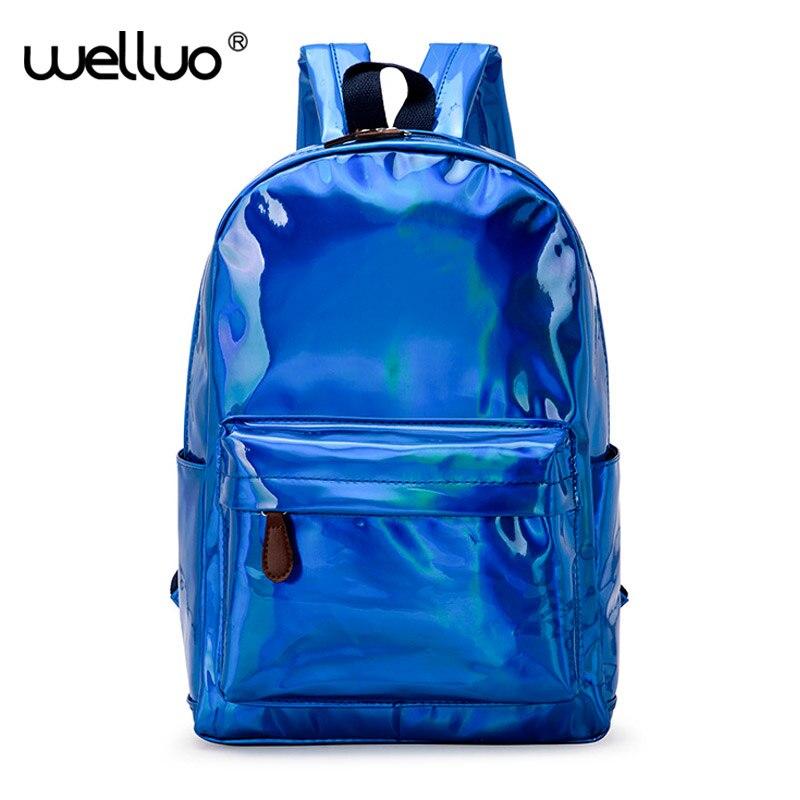 69d7786e19 2018 New Women Hologram Large Backpack Laser Daypacks Girl School Bags  Female Silver PU Leather Holographic Bags mochila XA480WB
