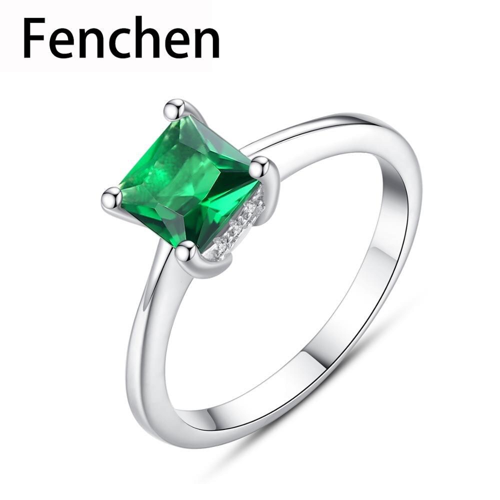 Fenchen Simple femelle émeraude bagues 925 en argent Sterling femmes bijoux de fiançailles de mariage pierre gemme Anel argent cadeaux AR066